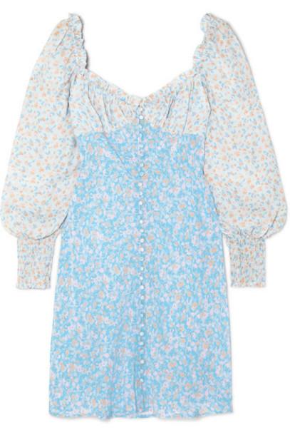 RIXO - Fara Floral-print Silk Mini Dress - Azure