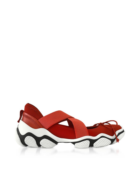 Red Valentino Flame Red Nylon Criss Cross Sneakers