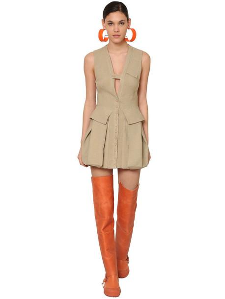 JACQUEMUS Raw Silk Canvas Mini Dress in beige