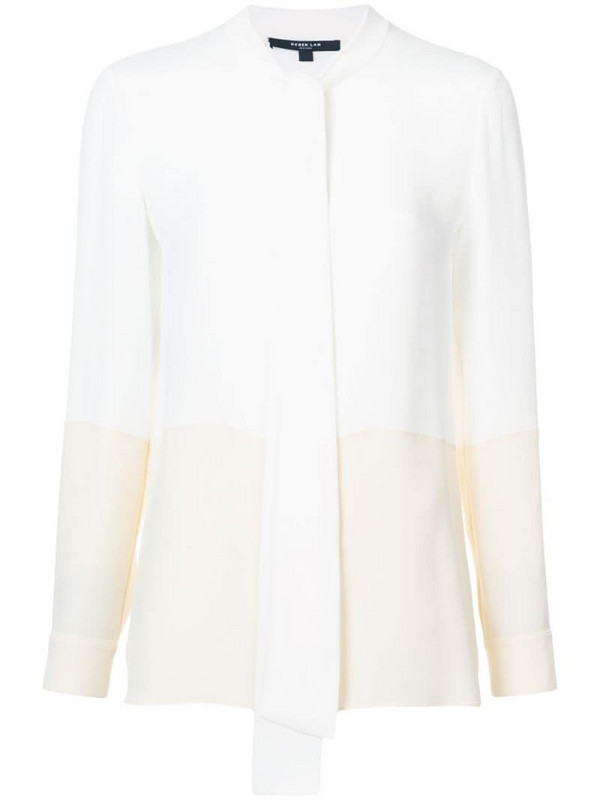 Derek Lam Long Sleeve Bicolor Blouse with Neck Ties in white