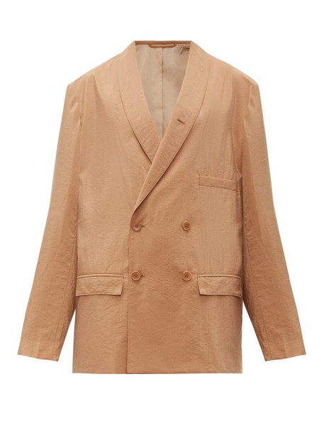 Lemaire - Oversized Double Breasted Silk Blend Blazer - Womens - Tan