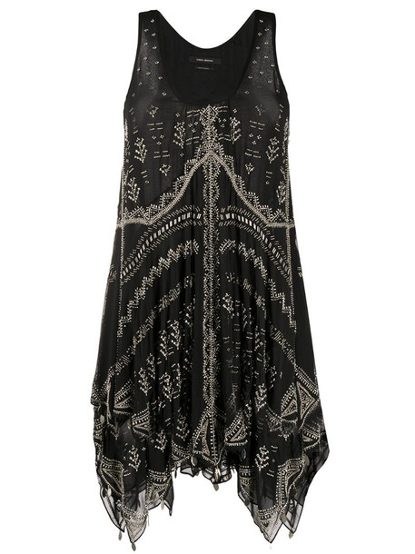 Isabel Marant bead-embellished mini dress in black
