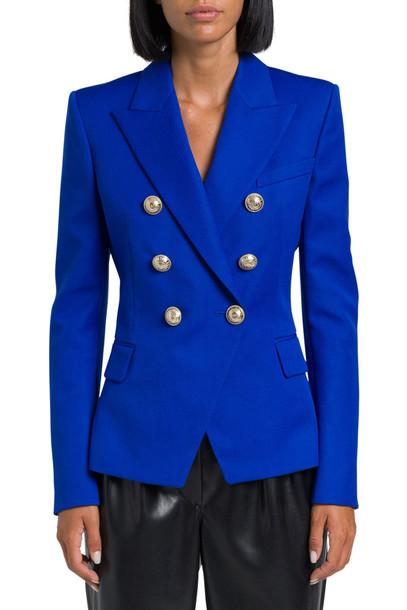 Balmain Grain De Poudre Classic Double Breasted Blazer in blue