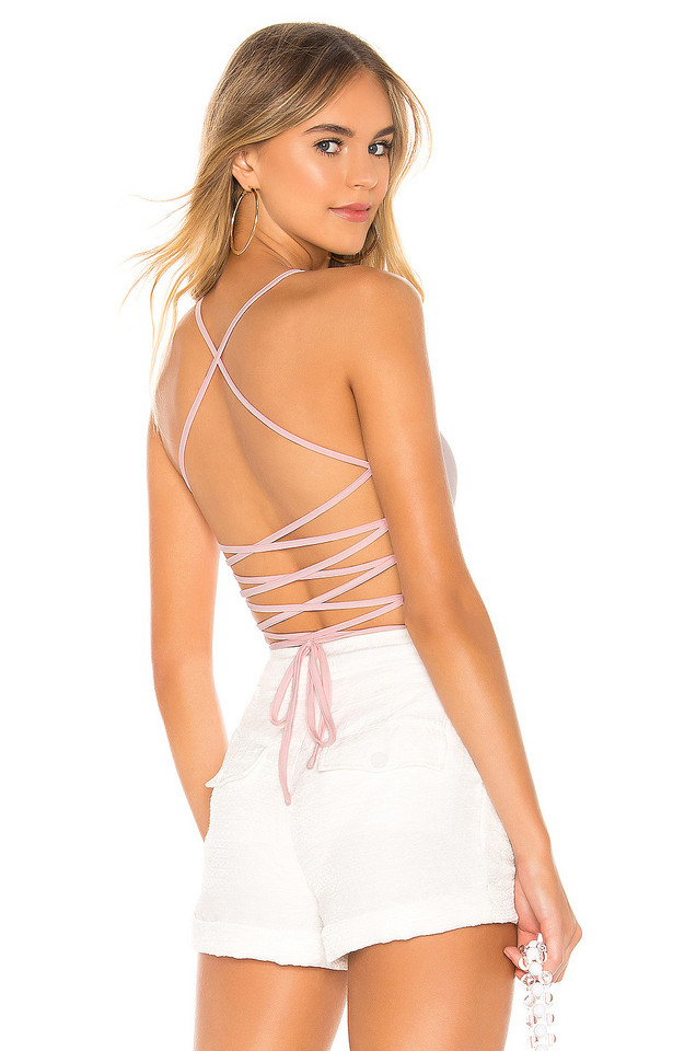 superdown Yvonne Lace Up Bodysuit in pink