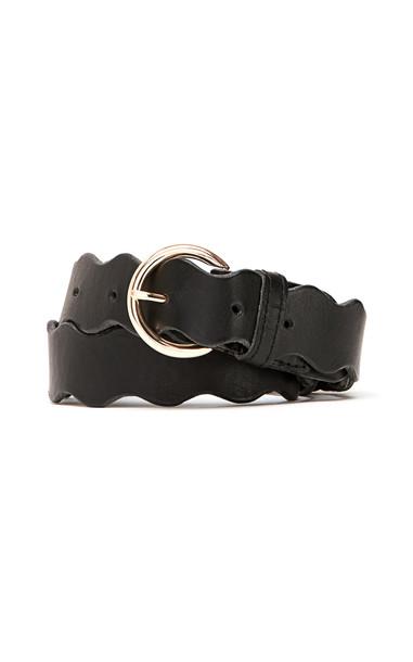 Loeffler Randall Blythe Ric Rac Leather Belt in black