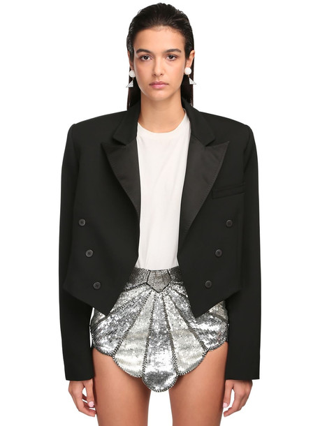 THE ATTICO Cropped Wool Gabardine Jacket in black