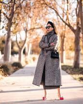 coat,long coat,grey coat,slingbacks,grey dress,turtleneck dress,black bag,handbag