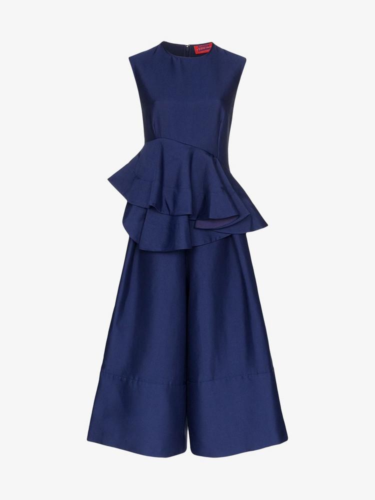 Solace London Alisa peplum shape wide leg jumpsuit in blue