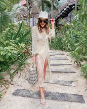 dress,cover up,beach dress,slide shoes,beach bag,hat