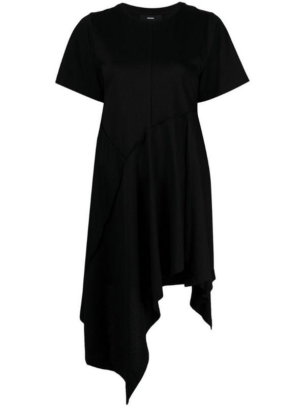 Diesel asymmetric mercerised cotton T-shirt dress in black