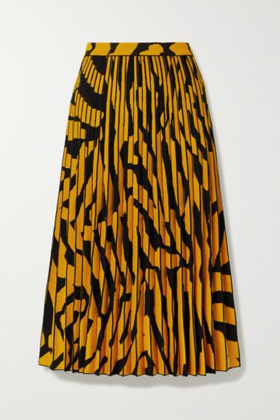Proenza Schouler - Pleated Stretch Jacquard-knit Midi Skirt - Saffron