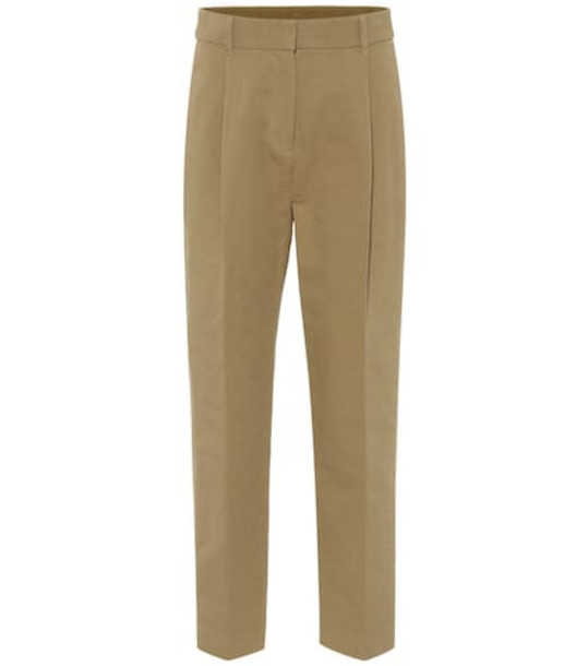 See By Chloé High-rise cotton straight pants in green