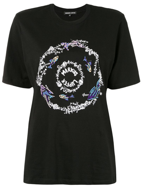 Markus Lupfer sequined logo-print T-shirt in black