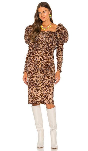 LPA Abana Dress in Brown in print