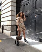 dress,mini dress,floral dress,black boots,lace up boots,bag,leopard print