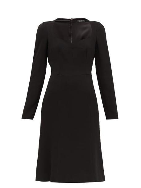 Dolce & Gabbana - Sweetheart Neckline Crepe Dress - Womens - Black