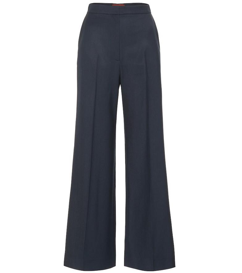 AlexaChung High-rise wool wide-leg pants in blue