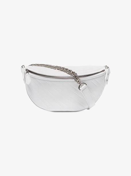 Balenciaga White Souvenir XXS logo stripe leather cross body bag