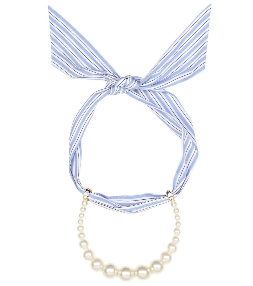 Miu Miu Faux-pearl scarf necklace in white