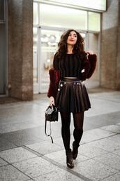 samieze,blogger,hat,jacket,skirt,top,shoes,bag