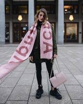 scarf,acne studios,black sneakers,black skinny jeans,army green jacket,pink bag,shoulder bag,black turtleneck top