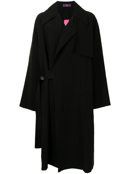 Y's one-sided oversize coat in black
