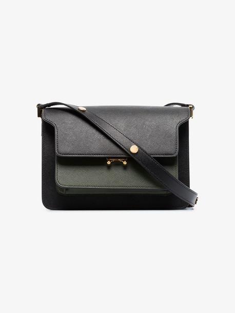 Marni black and grey mini leather trunk shoulder bag