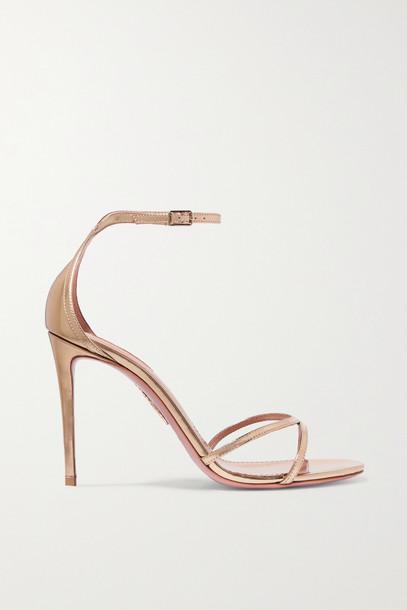 AQUAZZURA - Purist 105 Mirrored-leather Sandals - Gold