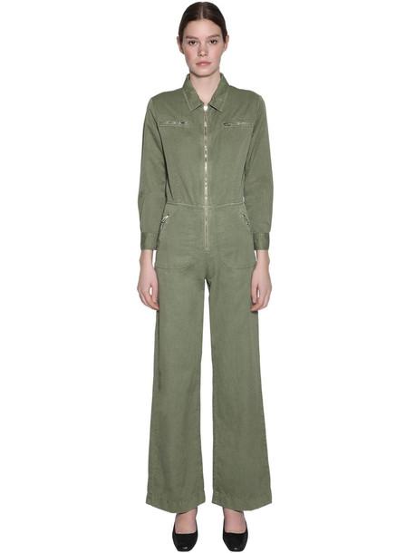 ALEXA CHUNG Cotton & Linen Jumpsuit in green