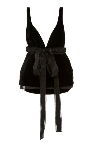 Brock Collection Velvet Peplum Wrap Top in black