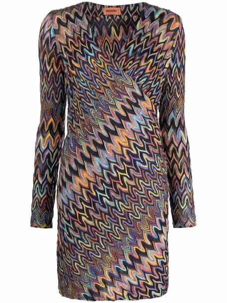 Missoni wrap style zig-zag dress - Purple
