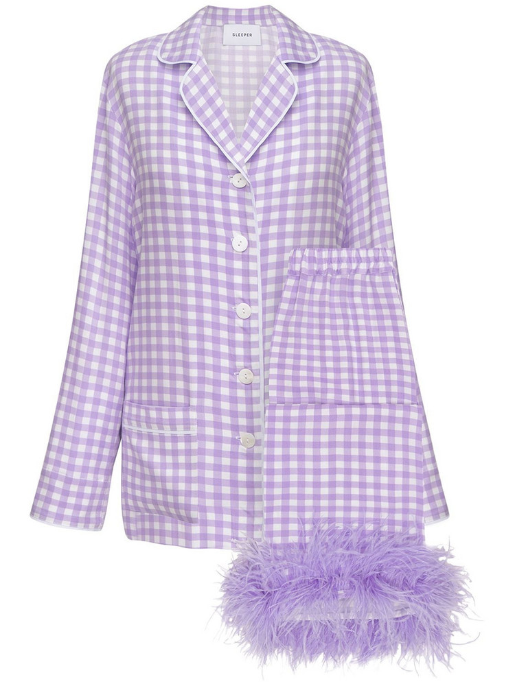 SLEEPER Party Pajama Set W/ Feathers in lavender / white