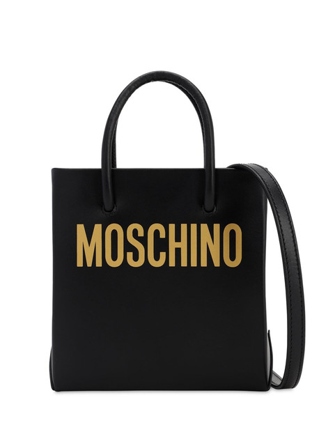 MOSCHINO Logo Printed Leather Shoulder Bag in black / gold