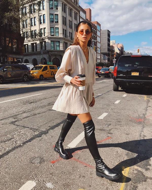 dress mini dress long sleeve dress h&m black boots over the knee boots flat boots