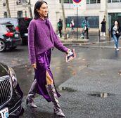 dress,midi dress,purple,knitted sweater,knee high boots,snake print