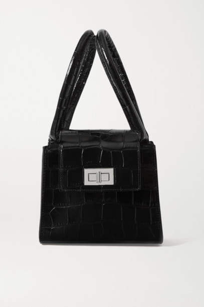 BY FAR - Sabrina Small Croc-effect Leather Tote - Black