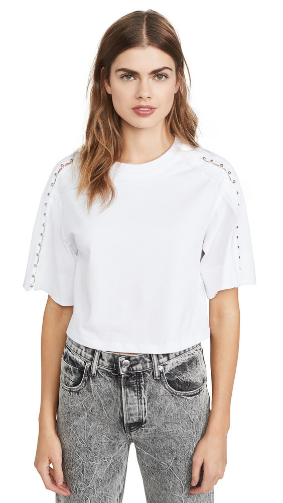 3.1 Phillip Lim Crop T-Shirt with Embellished Sleeves in white
