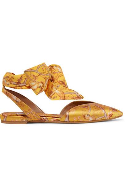 Tabitha Simmons - Johanna Ortiz Vera Printed Silk-satin And Crepe De Chine Point-toe Flats - Mustard