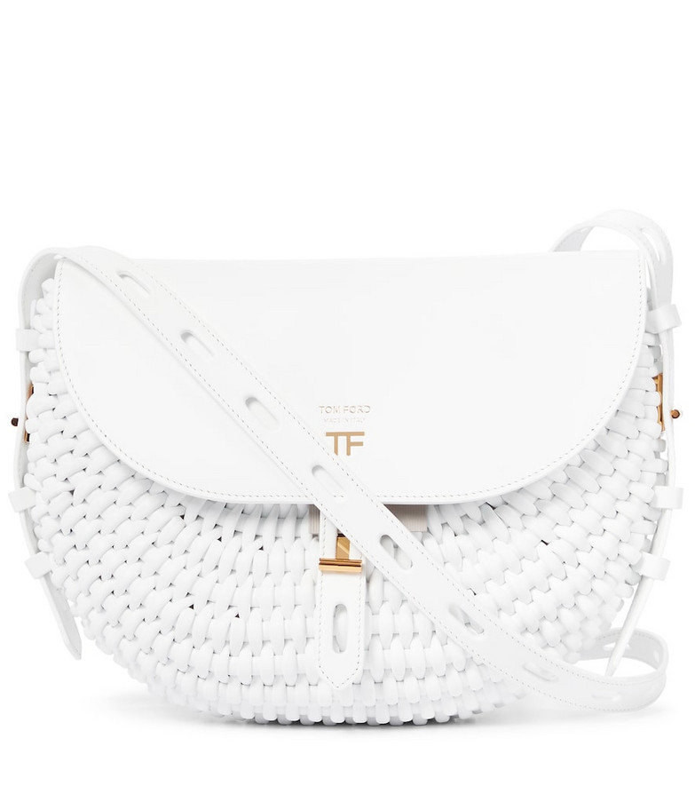 Tom Ford T Twist woven leather crossbody bag in white