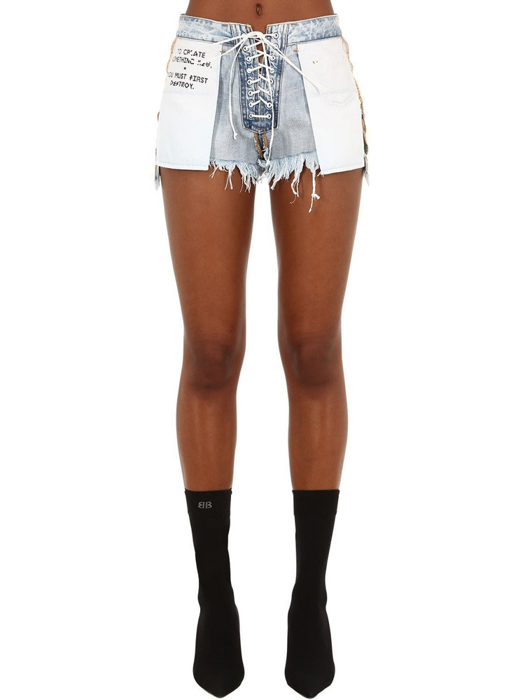 UNRAVEL Stone 10 Reverse Lace-up Denim Shorts in blue