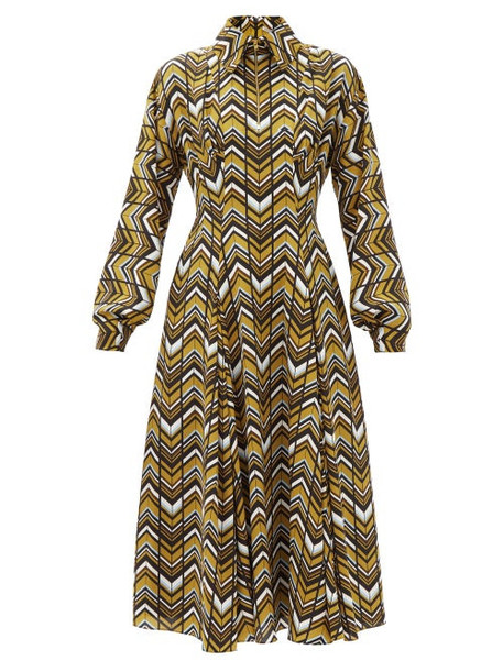Emilia Wickstead - Dannie Zigzag-print Crepe Shirt Dress - Womens - Brown Multi