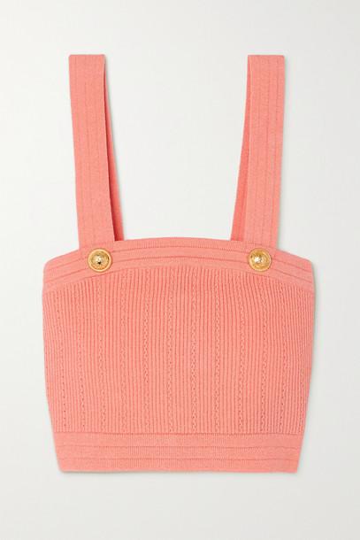 BALMAIN - Button-embellished Cropped Ribbed-knit Top - Orange