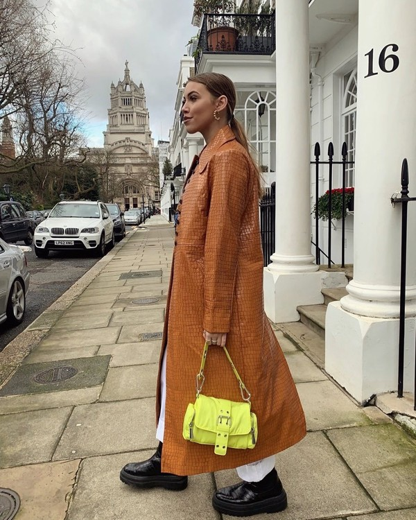 coat long coat topshop yellow bag black boots white pants