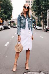 fashionjackson,blogger,dress,jacket,shoes,sunglasses,bag,denim jacket,round bag,sandals,white dress