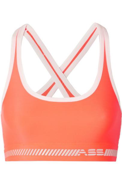 Adam Selman Sport - Neon Printed Stretch Sports Bra - Bright orange