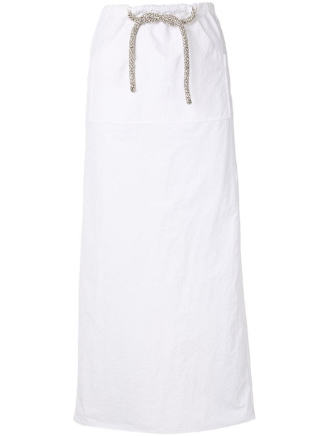Christopher Esber Cargo crystal-tie skirt in white