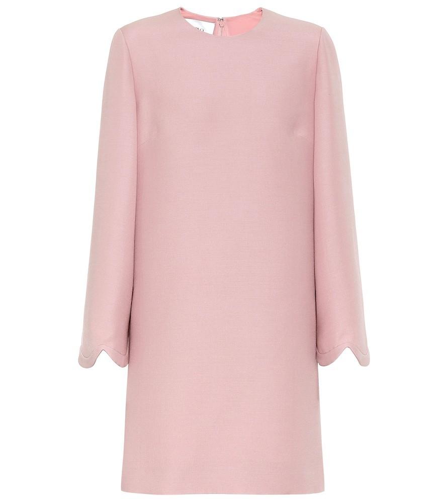 Valentino Wool and silk crêpe minidress in pink