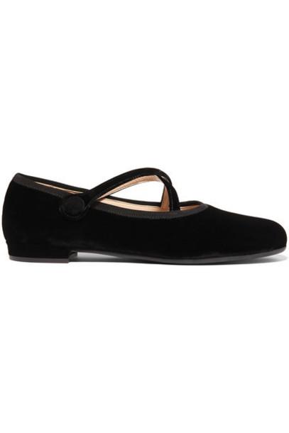 Miu Miu - Velvet Ballet Flats - Black