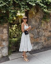 bag,black bag,chloe,midi dress,white dress,polka dots,slide shoes