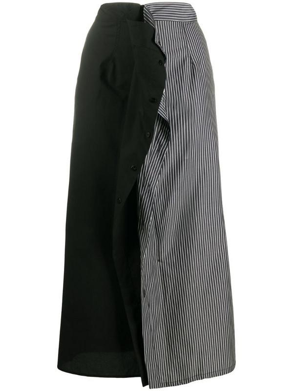 MM6 Maison Margiela stripe panel mid-length skirt in black
